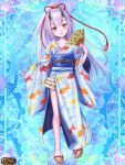 1girl animal_print blue_background blue_kimono fan fish_print folding_fan full_body gears hair_ornament hand_up horns japanese_clothes kerberos_blade kimono lavender_hair long_hair looking_at_viewer magia_steam sandals solo standing very_long_hair wide_sleeves yellow_eyes