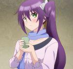 1girl ameno_sagiri aqua_eyes blush cup headband highres ponytail purple_hair scarf screencap stitched teacup third-party_edit yuragisou_no_yuuna-san