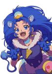 1girl :d animal_ears blue_choker blue_eyes blue_gloves blue_hair choker cure_gelato earrings gloves jewelry kirakira_precure_a_la_mode lion_ears lion_tail long_hair looking_at_viewer magical_girl open_mouth precure simple_background smile solo tail tategami_aoi uyoshi white_background