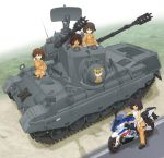 4girls antiaircraft_weapon bangs black_footwear blue_eyes brown_eyes brown_hair closed_eyes commentary_request dark_skin day emblem eyebrows_visible_through_hair fading flakpanzer_gepard freckles girls_und_panzer gloves grass green_eyes ground_vehicle hand_on_hip highres holding hoshino_(girls_und_panzer) ichigotofu jumpsuit leopon_(animal) long_sleeves looking_at_another mechanic military military_vehicle motor_vehicle motorcycle multiple_girls nakajima_(girls_und_panzer) open_mouth orange_jumpsuit outdoors partial_commentary road shadow shirt shirt_pull shoes short_hair smile standing suzuki_(girls_und_panzer) tank tank_top tied_shirt tsuchiya_(girls_und_panzer) uniform vehicle_request white_gloves white_shirt