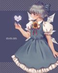1girl absurdres blue_dress blue_eyes blue_hair bow cirno commentary dress fingernails flower hair_bow heart highres ice ice_wings large_bow lips orz_(kagewaka) puffy_short_sleeves puffy_sleeves short_hair short_sleeves solo sunflower tanned_cirno touhou wings