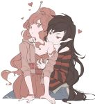 2girls adventure_time artist_name bite_mark black_hair black_nails breast_grab fangs flat_color grabbing grey_skin groping heart jacket kawacy light_blush long_hair looking_at_viewer marceline_abadeer multiple_girls nail_polish pink_eyes pink_hair pink_nails pink_skin pointy_ears princess_bonnibel_bubblegum red_eyes shirt smile strap_slip striped striped_shirt tiara vampire very_long_hair wristband yuri