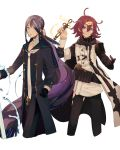 2boys ahoge aqua_eyes blue_eyes choker dorothy_(sinoalice) eyebrows_visible_through_hair eyes_visible_through_hair fins formal genderswap genderswap_(ftm) glasses gloves grin hair_ornament hairclip highres long_hair looking_at_viewer messy_hair multiple_boys ningyo_hime_(sinoalice) purple_hair ruri_kokko sailor_collar single_glove sinoalice smile suit sword very_long_hair vial water weapon white_background