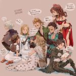 alfyn_(octopath_traveler) armor bag blonde_hair bracelet braid brown_hair cape controller cyrus_(octopath_traveler) dancer dress game_console game_controller gloves h'aanit_(octopath_traveler) handheld_game_console hat irono16 jacket jewelry joy-con long_hair multiple_boys multiple_girls navel necklace nintendo_switch octopath_traveler olberic_eisenberg open_mouth ophilia_(octopath_traveler) playing_games ponytail primrose_azelhart scar short_hair simple_background smile therion_(octopath_traveler) translation_request tressa_(octopath_traveler)