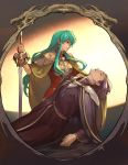1boy 1girl ahoge aqua_eyes aqua_hair aureolin31 breastplate breasts cape cloak closed_eyes closed_mouth earrings eirika eyebrows_visible_through_hair fire_emblem fire_emblem:_seima_no_kouseki highres holding holding_sword holding_weapon jewelry light long_hair looking_away looking_down lyon_(fire_emblem) medium_breasts nintendo parted_lips pauldrons picture_frame profile purple_cape purple_hair red_shirt shiny shiny_hair shirt short_sleeves shoulder_armor sidelocks signature sword very_long_hair weapon yellow_cape