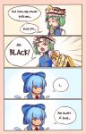 4koma bangs beige_background blue_background blue_bow blue_dress blue_hat blue_vest border bow breasts cirno clenched_teeth closed_eyes comic commentary dress emphasis_lines english english_commentary eyebrows_visible_through_hair frilled_hat frills gradient gradient_background green_eyes green_hair hair_bow hat highres holding ice ice_wings long_sleeves looking_to_the_side pinafore_dress red_neckwear rod_of_remorse shiki_eiki shirt short_hair small_breasts speech_bubble sweat teeth touhou upper_body v-shaped_eyebrows vest white_shirt wings yoruny