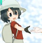 2girls :d backpack bag black_gloves black_hair blue_eyes commentary_request eyebrows_visible_through_hair eyes_visible_through_hair gloves hat hat_feather kaban_(kemono_friends) kemono_friends multiple_girls open_mouth outstretched_arm red_shirt sat-c serval_(kemono_friends) shirt short_hair short_sleeves smile solo_focus white_hat
