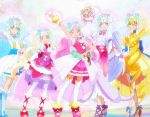 6+girls aqua_eyes aqua_hair blonde_hair boots cure_amour cure_ange cure_etoile cure_macherie cure_yell curly_hair highres hug-tan_(precure) hugtto!_precure long_hair multiple_girls pink_eyes pink_hair precure screencap thigh-highs thigh_boots veil white_hair