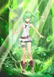 1girl animal animal_on_shoulder anklet bird_on_shoulder black_shorts choker collarbone day eyebrows_visible_through_hair floating_hair forest full_body green_eyes green_hair hair_between_eyes hair_ornament high_ponytail highres holding holding_staff jewelry long_hair looking_at_viewer mizutama_(mizutamalion) nature necklace outdoors shirt short_shorts shorts sleeveless sleeveless_shirt smile solo staff standing thighlet tree white_shirt winda_priestess_of_gusto yu-gi-oh!