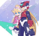 1boy 1girl android black_eyes blonde_hair blue_eyes capcom ciel_(rockman) closed_mouth coat energy_blade energy_sword eyebrows_visible_through_hair gloves hair_between_eyes headgear helmet high_ponytail holding holding_weapon kon_(kin219) long_hair pink_coat ponytail rockman rockman_zero snow snowing standing sword very_long_hair weapon white_gloves zero_(rockman)