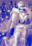 1boy android blurry blurry_background cityscape closed_eyes full_body greyscale helmet highres leg_hug monochrome power_armor profile rockman rockman_x sitting sketch solo x_(rockman) yukinbo78