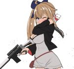1girl bangs battle_rifle blonde_hair blue_eyes breasts commentary dress fal_(girls_frontline) fn_fal girls_frontline gun large_breasts long_hair one_eye_closed rifle side_ponytail sumiyao_(amam) very_long_hair weapon white_dress
