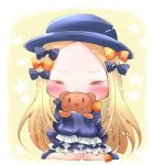 1girl abigail_williams_(fate/grand_order) bangs black_bow black_dress black_footwear black_hat blonde_hair bloomers blush bow bug butterfly chibi closed_eyes commentary_request covered_mouth dress facing_viewer fate/grand_order fate_(series) forehead full_body hair_bow hat heart insect long_hair long_sleeves object_hug orange_bow parted_bangs polka_dot polka_dot_bow shoes sitting sleeves_past_fingers sleeves_past_wrists solo stuffed_animal stuffed_toy teddy_bear tenmai_miwa underwear very_long_hair wariza white_bloomers