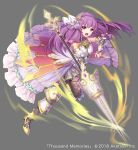 >:o 1girl absurdres armor attack black_legwear bow braid copyright_name cross_hair_ornament elbow_gloves fighting_stance full_body gloves grey_background hair_bow hair_ornament highres lance long_hair looking_at_viewer official_art pink_bow polearm purple_hair purple_skirt running shoes skirt solo takamiya_ren thousand_memories very_long_hair violet_eyes weapon yellow_footwear
