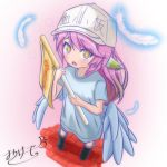 1girl angel_wings artist_request blue_shirt boots commentary_request cosplay cross feathered_wings feathers flag flat_cap gradient hat hataraku_saibou highres holding holding_flag jibril_(no_game_no_life) long_hair looking_at_viewer low_wings multicolored multicolored_eyes multicolored_hair no_game_no_life open_mouth orange_eyes pink_hair platelet_(hataraku_saibou) platelet_(hataraku_saibou)_(cosplay) shirt short_sleeves shorts solo standing symbol-shaped_pupils white_hat wing_ears wings yellow_eyes