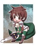 1girl bangs blush bob_cut boots border breasts brown_eyes brown_footwear brown_hair cape character_request chibi cleavage collarbone commentary_request copyright_request d: elbow_gloves eyebrows_visible_through_hair eyes_visible_through_hair full_body furrowed_eyebrows genderswap genderswap_(mtf) gloves gold_trim green_cape green_gloves green_legwear hayasaka high_heel_boots high_heels holding holding_sword holding_weapon knee_boots leaning_forward open_mouth outside_border rance_(series) ransuko sengoku_rance short_hair standing stomach swept_bangs sword tareme tears thigh-highs weapon white_border