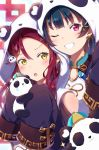 2girls :o bangs blue_hair blush chinese_clothes commentary_request earrings eyebrows_visible_through_hair grin hair_ornament hairclip hat highres holding hood hood_up jewelry long_hair love_live! love_live!_sunshine!! mia_(fai1510) multiple_girls one_eye_closed panda panda_hair_ornament panda_hood redhead sakurauchi_riko shoulder_cutout sleeves_past_fingers sleeves_past_wrists smile sparkle teardrop tsushima_yoshiko upper_body v-shaped_eyebrows violet_eyes yellow_eyes