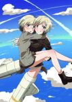 2girls arms_around_neck blonde_hair blue_eyes boots brown_hair carrying commentary dog_tail erica_hartmann flying glasses grin highres long_sleeves looking_at_viewer military military_uniform multicolored_hair multiple_girls naguramu no_pants open_mouth princess_carry short_hair siblings sisters smile strike_witches striker_unit tail twins twitter_username two-tone_hair uniform ursula_hartmann world_witches_series