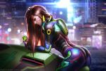 1girl alternate_costume blurry blurry_background bodysuit bottle brown_hair closed_eyes d.va_(overwatch) facepaint facial_mark gloves high_collar leaning_on_object liang_xing lips long_hair meka_(overwatch) night outdoors overwatch parted_lips patreon_username pilot_suit rain ribbed_bodysuit shoulder_pads skin_tight solo watermark web_address whisker_markings