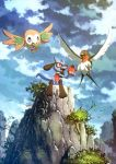 apple bird canine creatures_(company) fang flying food fruit game_freak gen_3_pokemon gen_4_pokemon gen_7_pokemon graphite_(medium) highres mechanical_pencil nintendo no_humans owl pencil pokemon riolu rowlet sitting taillow traditional_media wings