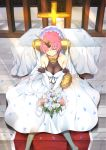 1girl bare_shoulders bouquet breasts bridal_veil closed_eyes cross dress elbow_gloves fate/apocrypha fate_(series) flower frankenstein's_monster_(fate) gloves hair_over_one_eye headgear highres holding holding_bouquet horn inu3 medium_breasts pink_hair short_hair sitting solo veil wedding_dress white_dress white_flower white_gloves