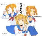 1girl ;d bangs blue_sailor_collar blue_skirt breasts collaboration crazy_eyes curly_hair flower hand_up hands_up interlocked_fingers long_sleeves looking_at_viewer middle_finger multiple_persona neckerchief one_eye_closed open_mouth orange_eyes orange_hair own_hands_together parted_bangs pleated_skirt poptepipic popuko red_neckwear sailor_collar school_uniform serafuku shirt short_hair short_twintails simple_background skirt small_breasts smile tama_(tmfy5) translation_request twintails twitter_username v_over_eye white_background white_shirt
