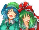 2girls :d ^_^ aqua_jacket bangs blue_hair blush breasts cabbie_hat clenched_hand closed_eyes closed_eyes collarbone commentary_request dress eyebrows_visible_through_hair facing_viewer frilled_ribbon frilled_shirt_collar frills green_eyes green_hat hair_bobbles hair_ornament hair_ribbon hand_up hat head_tilt jacket kagiyama_hina kawashiro_nitori key long_hair medium_breasts multiple_girls open_mouth pocket red_dress red_ribbon ribbon shidaccc short_hair simple_background smile tears touhou two_side_up upper_body white_background wing_collar