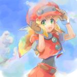 1girl :d belt blonde_hair blush brown_gloves buttons cabbie_hat capcom clouds dinef female gloves green_eyes hat long_hair open_mouth rockman rockman_dash roll roll_caskett short_sleeves shorts sky smile solo upper_body
