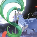1girl bangs bare_shoulders blush bow closed_mouth clouds collarbone commentary_request detached_sleeves dress eyebrows_visible_through_hair full_moon green_eyes green_hair hair_between_eyes hatsune_miku highres holding holding_microphone long_hair long_sleeves looking_away microphone microphone_stand moon night night_sky outdoors sidelocks sky solo strapless strapless_dress twintails user_awm7451 very_long_hair vocaloid white_dress wide_sleeves yellow_bow