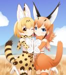 2girls animal_ears blonde_hair blue_eyes blue_sky blush bow bowtie breast_press brown_gloves brown_hair brown_legwear brown_neckwear caracal_(kemono_friends) caracal_ears caracal_tail cheek-to-cheek clouds cross-laced_clothes day elbow_gloves extra_ears eyebrows_visible_through_hair gloves hand_holding high-waist_skirt highres interlocked_fingers kemono_friends long_hair looking_at_viewer mountain multiple_girls one_eye_closed outdoors print_gloves print_legwear print_neckwear print_skirt serval_(kemono_friends) serval_ears serval_print serval_tail shin01571 shirt skirt sky sleeveless sleeveless_shirt smile spotted_hair symmetrical_docking tail thigh-highs v white_belt white_gloves yellow_eyes yellow_gloves yellow_legwear yellow_neckwear yellow_skirt zettai_ryouiki