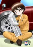 1girl bangs black_footwear brown_eyes brown_hair can car closed_mouth commentary daxz240r full_body girls_und_panzer gloves ground_vehicle highres indian_style jumpsuit long_sleeves mechanic motor_vehicle nakajima_(girls_und_panzer) nissan orange_jumpsuit polishing rag shirt shoes short_hair sitting smile solo sparkle uniform white_gloves white_shirt