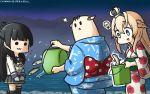 2girls :3 :d =3 alternate_costume animal black_hair black_legwear blonde_hair blue_eyes blue_sailor_collar bucket commentary_request crown dated fish floral_print french_kiss gloves grey_skirt hair_between_eyes hamu_koutarou highres holding holding_bucket isokaze_(kantai_collection) japanese_clothes kantai_collection kimono kiss kneehighs light_bulb long_hair long_sleeves mini_crown multiple_girls obi open_mouth pleated_skirt red_ribbon ribbon rose_print sailor_collar sash school_uniform serafuku single_kneehigh single_thighhigh skirt smile solid_circle_eyes the_yuudachi-like_creature thigh-highs warspite_(kantai_collection) white_gloves yukata yuudachi_(kantai_collection)