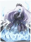 1girl alder black_gloves blue_eyes blue_skin blush breasts elbow_gloves eyebrows_visible_through_hair gloves hair_over_one_eye large_breasts long_hair looking_at_viewer monster_girl monster_girl_encyclopedia parted_lips smile solo white_hair will-o'-the-wisp_(monster_girl_encyclopedia)