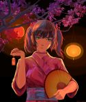 1girl arsenixc bangs blunt_bangs cherry_blossoms closed_mouth collar dark_blue_hair dated fan hair_ornament harisen head_tilt highres holding holding_fan japanese_clothes kimono lantern looking_at_viewer multicolored multicolored_eyes original pink_kimono short_hair short_twintails solo tagme twintails upper_body watermark wide_sleeves yukata