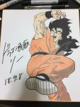 1boy 2018 black_eyes black_hair commentary_request dated dougi dragon_ball fighting_stance fingernails frown graphite_(medium) highres lee_(dragon_garou) long_hair looking_away male_focus marker_(medium) open_mouth photo shikishi traditional_media wristband yamcha