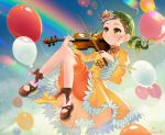 1girl absurdres balloon black_bow black_footwear black_ribbon bow bow_(instrument) dodmsdk dress drill_hair green_eyes green_hair hair_ornament heart heart_hair_ornament highres holding holding_instrument instrument juliet_sleeves kanaria knees_together_feet_apart long_sleeves music parted_lips playing_instrument puffy_sleeves rainbow ribbon rozen_maiden shoes short_hair solo sparkle turtleneck twin_drills violin wide_sleeves yellow_dress