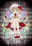 1girl ankle_socks apple argyle argyle_background black_background blacksio blonde_hair bloomers commentary_request covering_mouth cravat crystal flandre_scarlet food frilled_shirt_collar frilled_skirt frills fruit gradient gradient_background hair_between_eyes hat hat_ribbon highres holding holding_fruit knees_to_chest laevatein legs_together looking_at_viewer mary_janes mob_cap red_eyes red_footwear red_skirt red_vest ribbon shirt shoes short_hair short_sleeves side_ponytail skirt solo touhou underwear vest white_legwear white_shirt wings wrist_cuffs yellow_neckwear