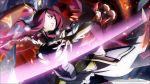2girls battle black_sclera blazblue blazblue:_central_fiction bodysuit breasts cleavage energy_sword evil_smile hat highres impossible_bodysuit impossible_clothes izayoi_(blazblue) konoe_a_mercury large_breasts long_hair multiple_girls official_art pink_hair ponytail red_eyes redhead smile sword tagme weapon witch_hat yellow_eyes