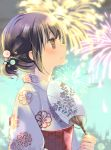 1girl aerial_fireworks black_hair blurry blurry_background blush brown_eyes closed_mouth clouds commentary_request depth_of_field fan fingernails fireworks floral_print from_side hair_ornament hand_up holding holding_fan japanese_clothes kimono kuga_tsukasa obi original paper_fan print_kimono profile sash sideways_mouth sky solo tears uchiwa white_kimono yukata