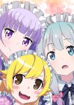 3girls :d :o alternate_costume bakemonogatari bangs black_neckwear black_ribbon blonde_hair blue_eyes blunt_bangs blush_stickers bow brown_eyes closed_mouth enmaided eromanga_sensei eyebrows_visible_through_hair fang grey_hair hair_bow hair_flaps highres izumi_sagiri long_hair maid maid_headdress monogatari_(series) multiple_girls neck_ribbon new_game! open_mouth oshino_shinobu pink_bow pink_x purple_hair ribbon smile suzukaze_aoba violet_eyes