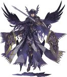 armor armored_dress black_wings cape feather_trim feathered_wings floating gauntlets greaves helmet hrist_valkyrie long_hair looking_at_viewer official_art ornate_armor red_eyes shield sword valkyrie_anatomia valkyrie_profile weapon wings