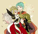 1boy 1girl armor armored_boots artist_name bird black_armor blue_eyes boots cape carrying crown ephraim feh_(fire_emblem_heroes) fire_emblem fire_emblem:_seima_no_kouseki fire_emblem_heroes green_hair grey_hair hair_ornament high_heels long_hair long_sleeves nintendo open_mouth owl princess_carry red_cape red_eyes sasaki_(dkenpisss) short_hair shoulder_armor veronica_(fire_emblem)