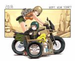 2018 2girls anbj backpack bag bare_arms black_hair black_jacket breasts brown_eyes camouflage_print chin_strap commentary crop_top crossover driving frying_pan green_eyes ground_vehicle gun happy_new_year helmet holding holding_weapon idolmaster idolmaster_cinderella_girls jacket kriss_vector large_breasts leg_strap light_brown_hair long_sleeves looking_back looking_to_the_side midriff morikubo_nono motor_vehicle motorcycle motorcycle_helmet multiple_girls new_year pants playerunknown's_battlegrounds ponytail shirt shoes short_shorts short_sleeves shorts sidecar sitting spare_tire submachine_gun t-shirt weapon weapon_request yamato_aki yellow_pants