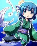 1girl :o animal_ears bait blue_background blue_eyes blue_hair commentary_request drill_hair eyebrows_visible_through_hair fishing_hook fishing_line floral_print green_kimono head_fins japanese_clothes kimono long_sleeves notice_lines obi outline parted_lips sash solo tottsuman touhou underwater wakasagihime white_outline wide_sleeves