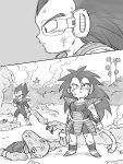 2boys armor black_eyes black_hair boots close-up comic dirty dirty_clothes dirty_face dragon_ball eating expressionless full_body grey_background greyscale highres long_hair looking_away looking_up male_focus monochrome multiple_boys outdoors profile raditz scouter silent_comic simple_background smoke standing tail tkgsize upper_body vegeta younger
