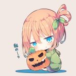 1girl :t bangs barefoot beni_shake blue_eyes blue_skirt blush brown_background brown_hair chibi closed_mouth commentary_request eyebrows_visible_through_hair green_hoodie hair_between_eyes hair_ornament head_tilt hood hood_down hoodie jack-o'-lantern object_hug one_side_up original pleated_skirt pout sitting skirt solo translated v-shaped_eyebrows