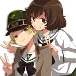 2girls akiyama_yukari bangs behind_another black_neckwear blonde_hair bow bowtie brown_eyes brown_hair brown_jacket commentary double_v erwin_(girls_und_panzer) girls_und_panzer goggles goggles_on_headwear green_hat grin half-closed_eyes hands_on_another's_shoulders hat head_tilt jacket long_sleeves looking_at_viewer messy_hair military_hat military_jacket multiple_girls ooarai_school_uniform open_clothes open_jacket peaked_cap pointy_hair pose shadow short_hair smile sonasiz v white_background