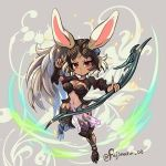 1girl animal_ears bow_(weapon) breasts cleavage dark_skin final_fantasy final_fantasy_xii fingernails fran fujimaru_(green_sparrow) full_body helmet holding holding_bow_(weapon) holding_weapon large_breasts long_fingernails long_hair looking_at_viewer lowres navel orange_eyes ponytail rabbit_ears see-through solo twitter_username very_long_hair viera weapon white_hair