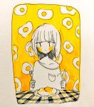 1girl bangs blush_stickers checkered clenched_hand commentary eguchi_saan fork fried_egg greyscale highres knife marker_(medium) monochrome off-shoulder_shirt original pen_(medium) photo plate shirt short_hair solo table table_cloth traditional_media yellow_blush