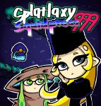 2girls black_hat blonde_hair blue_eyes brown_hat closed_mouth cosplay domino_mask ginga_tetsudou_999 green_eyes green_hair ground_vehicle hat hoshino_tetsurou hoshino_tetsurou_(cosplay) inkling long_hair maetel mask multiple_girls nintendo octarian outline setz smile splatoon splatoon_2 splatoon_2:_octo_expansion squidbeak_splatoon tentacle_hair train white_outline